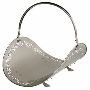 Uniflame 21 in. Satin Pewter Wood Basket with Flower Filigree
