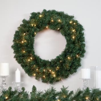  24 in. Classic Pine Pre-lit Wreath