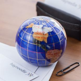 Gemstone Globe Paperweight Office Decor