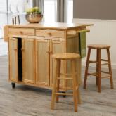  The Vinton Portable Kitchen Island with Optional Stools