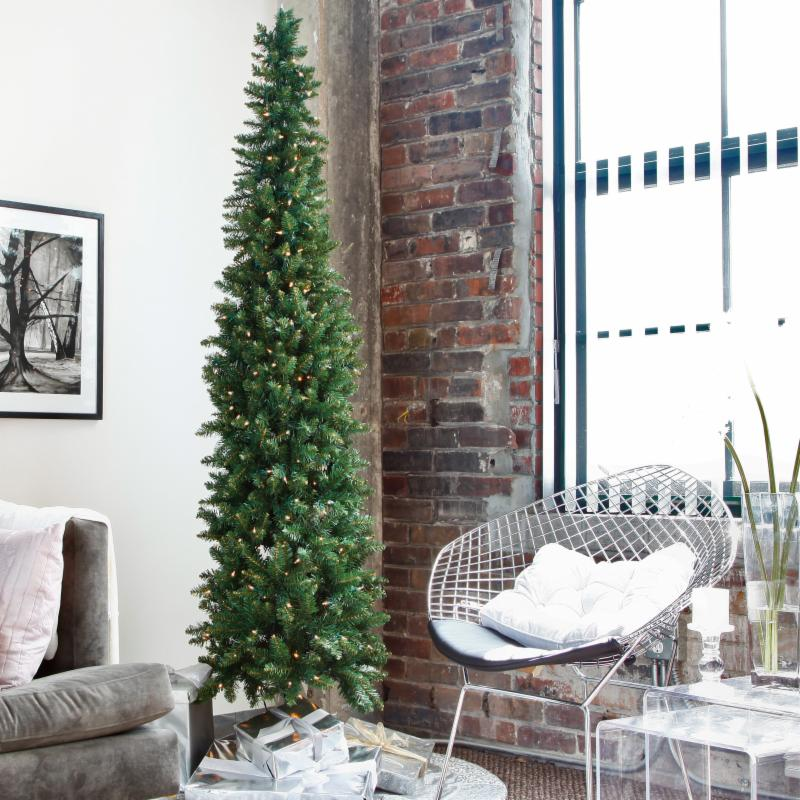 9 ft. Classic Pine prelit Pencil Christmas Tree Clear