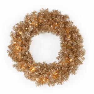 24 in. Classic Champagne Gold Pre-lit Wreath