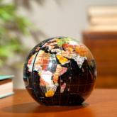  Black Jasper Gemstone Globe Bookend - 6-in. Diameter