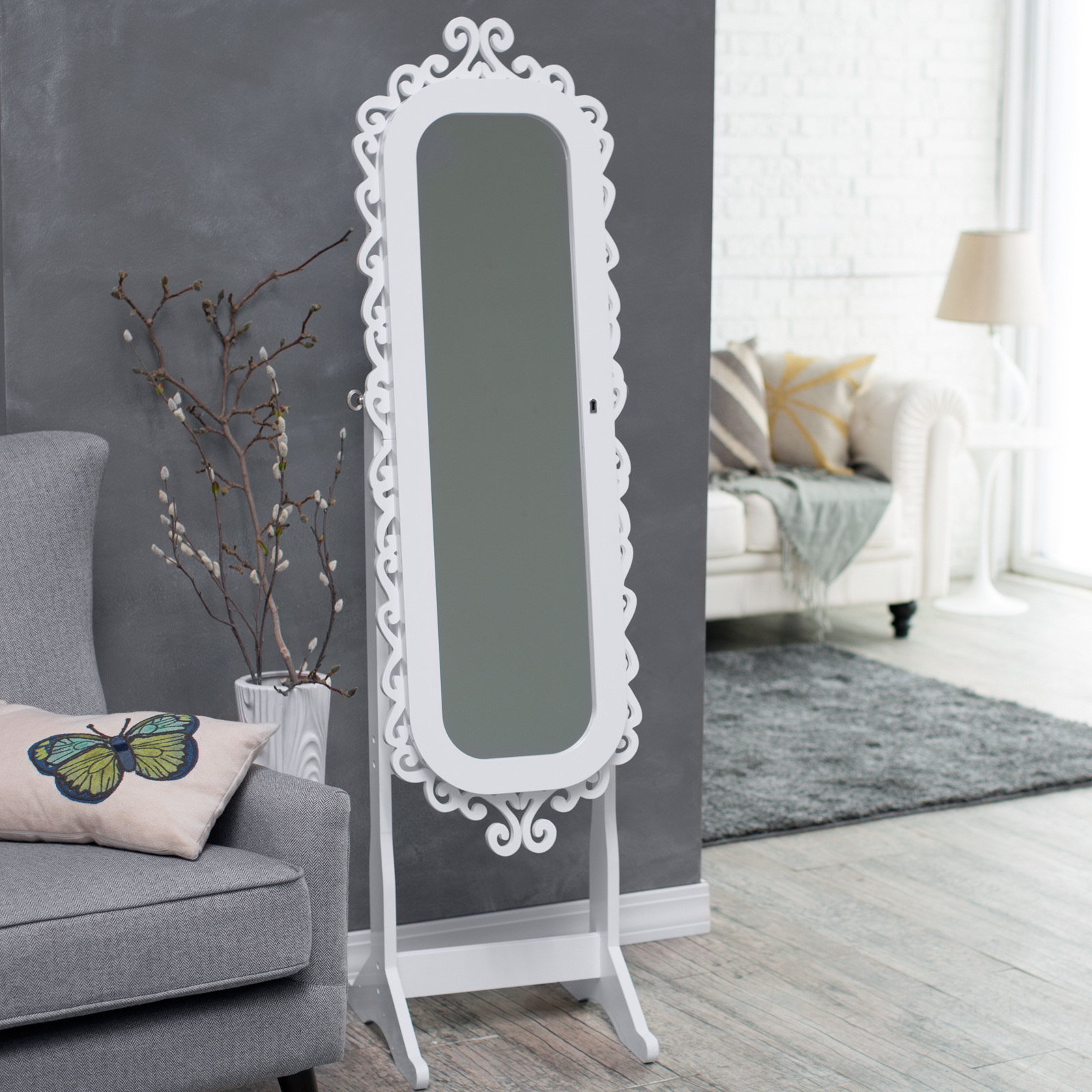 Belham Living Scroll Cheval Mirror Locking Jewelry Armoire