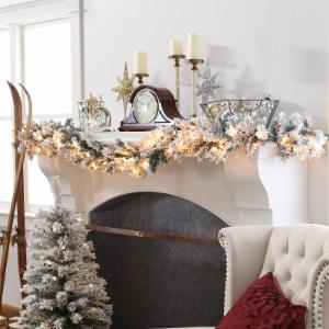 Finley Home Classic Flocked 9 ft. Pre-Lit Garland