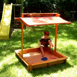 EasyStart Covered Wooden Sandbox - Red Roof
