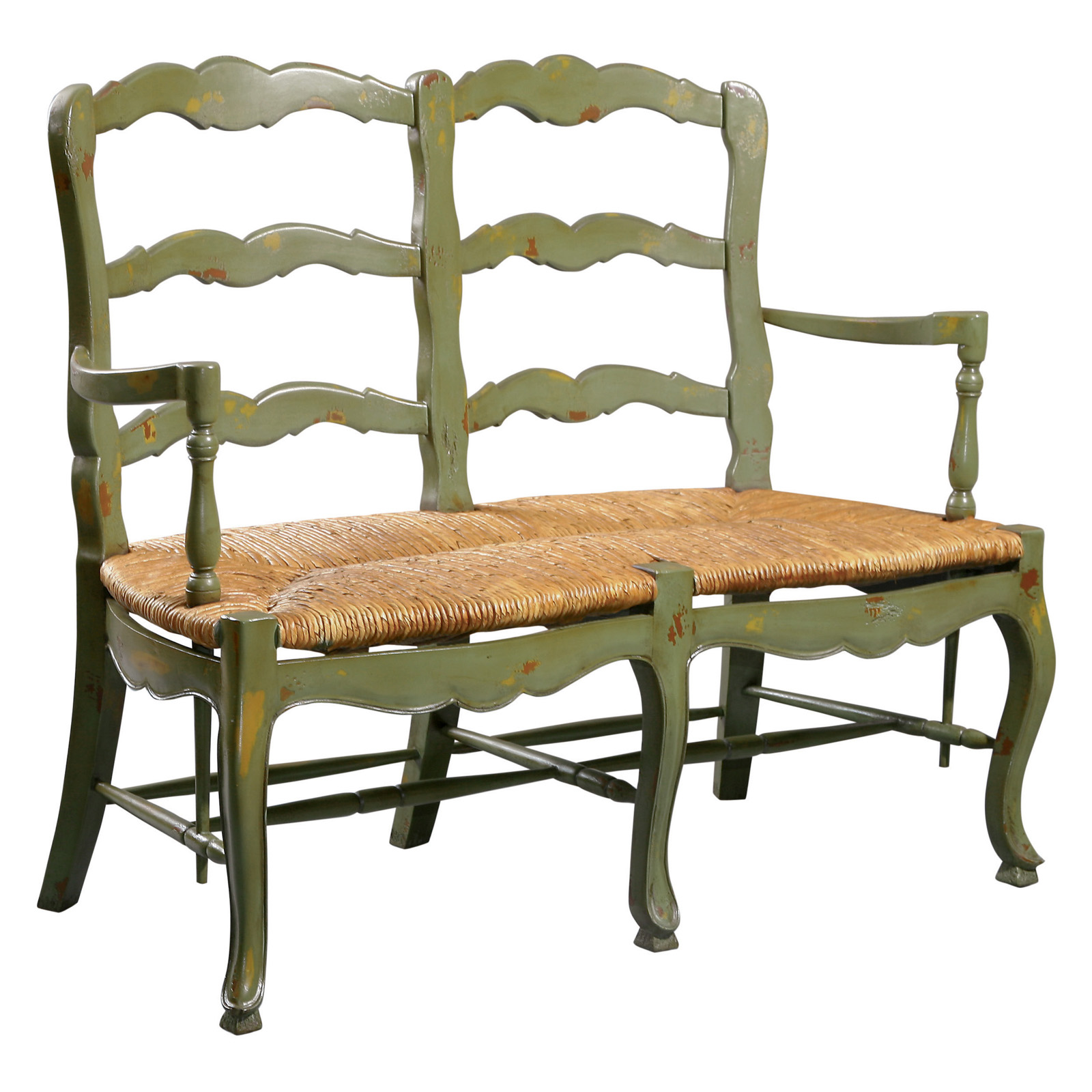 Country French Ladderback Settee Bench At Hayneedle