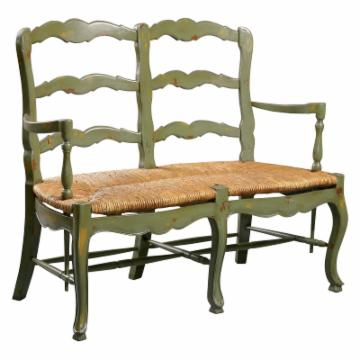 Country French Ladderback Settee Bench Indoor Benches At
