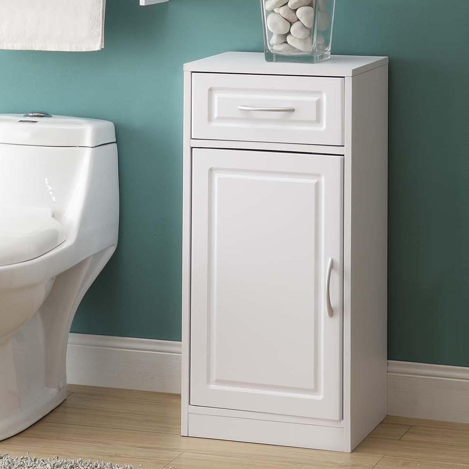4d concepts white bathroom base cabinet with one door - Small floor cabinet for bathroom ...