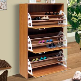 4D Concepts Deluxe Triple Shoe Cabinet - Oak