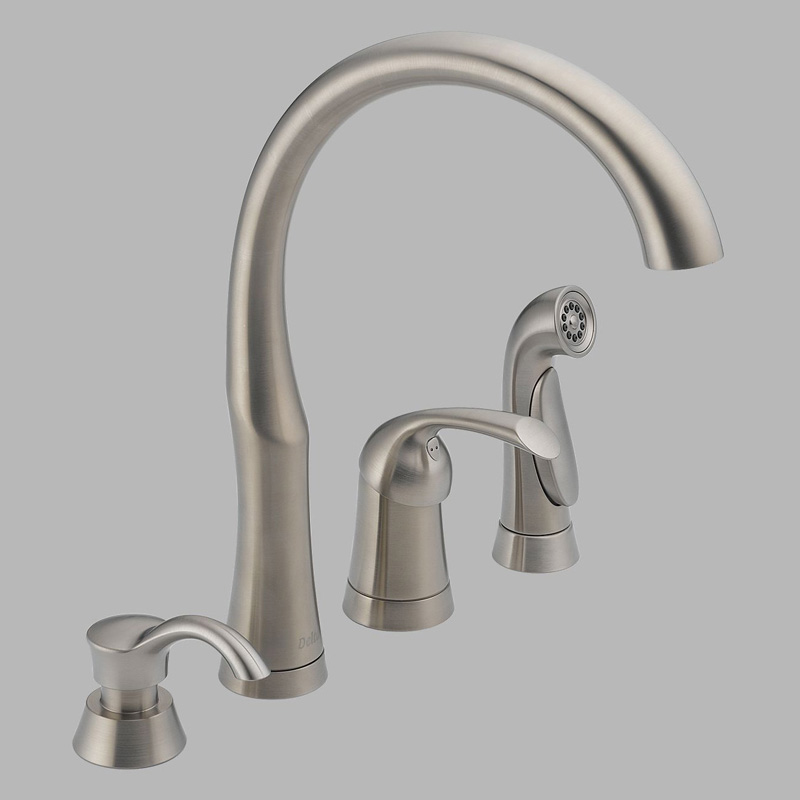 handle kitchen faucet with side spray and soap dispenser at hayneedle