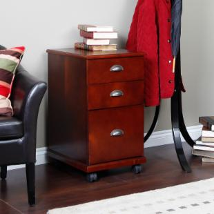 The 3 Drawer Mobile Filing Cabinet - Dark Cherry