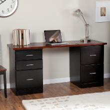 Valona Modern 5-Drawer Desk - Black/Dark Cherry