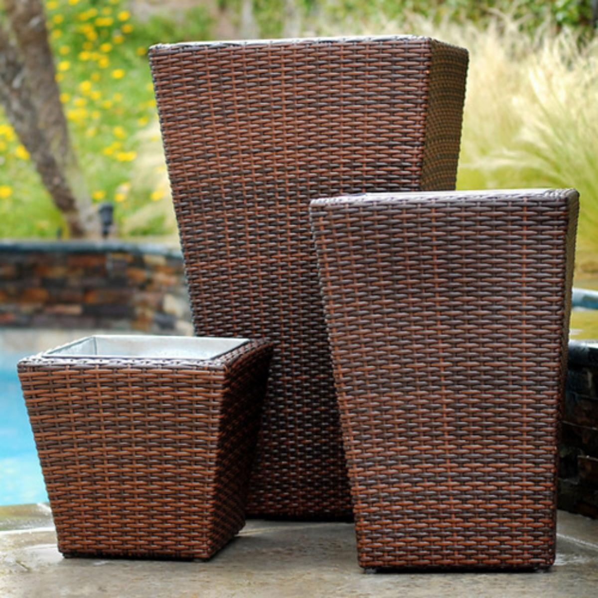 Item Of Your Class Rst Outdoor Resin Wicker Planters Set