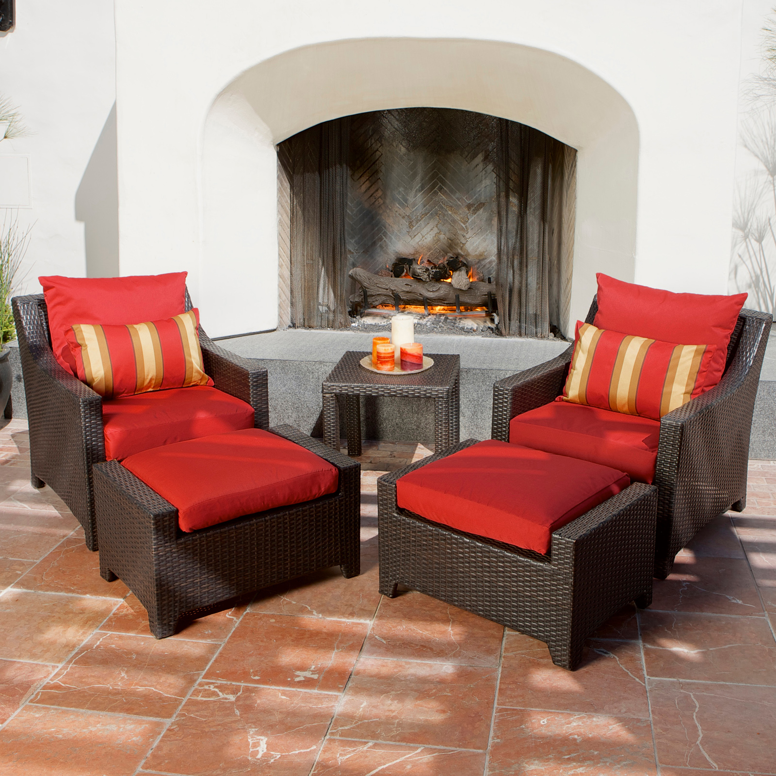 Rst Outdoor Cantina 5 Piece Club Chairs And Ottomans Set