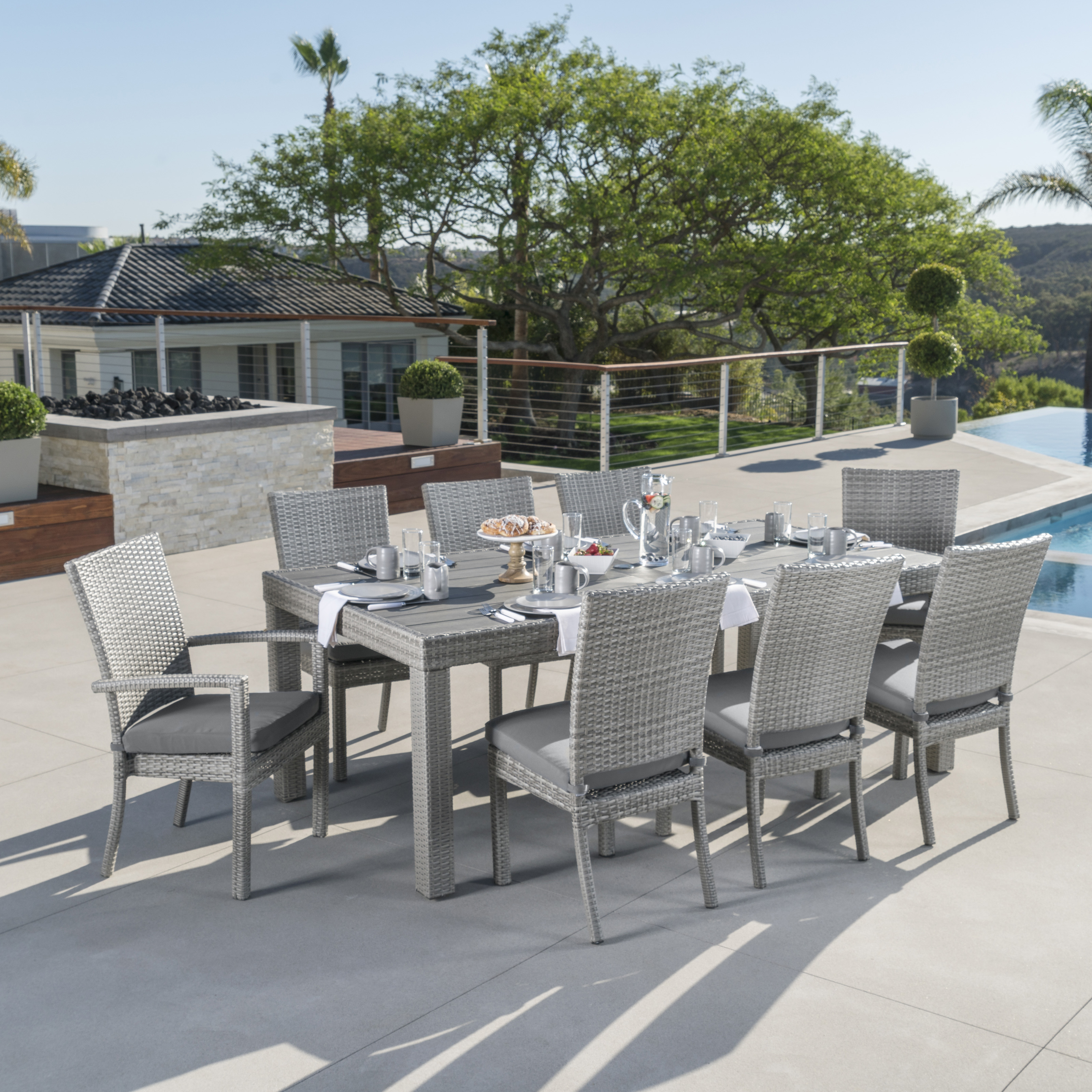 cannes 9 piece patio dining set patio dining sets at hayneedle