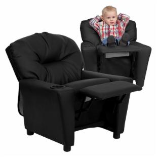 Flash Furniture Leather Kids Recliner with Cup Holder - Black