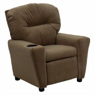 Flash Furniture Microfiber Kids Recliner with Cup Holder - Brown