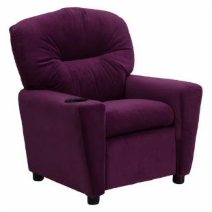 Flash Furniture Microfiber Kids Recliner with Cup Holder - Purple