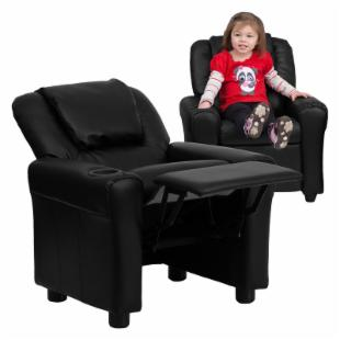 Flash Furniture Vinyl Kids Recliner with Cup Holder and Headrest - Black