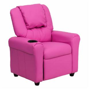 Flash Furniture Vinyl Kids Recliner with Cup Holder and Headrest - Hot Pink