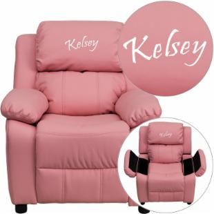 Flash Furniture Personalized Vinyl Kids Recliner with Storage Arms - Pink