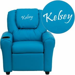 Flash Furniture Personalized Vinyl Kids Recliner with Cup Holder and Headrest - Turquoise