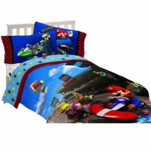 Super Mario The Race is On Twin / Full Comforter with Optional Sheet Set