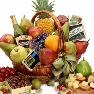 Orchard Harvest Cheese and Fruit Gift Basket