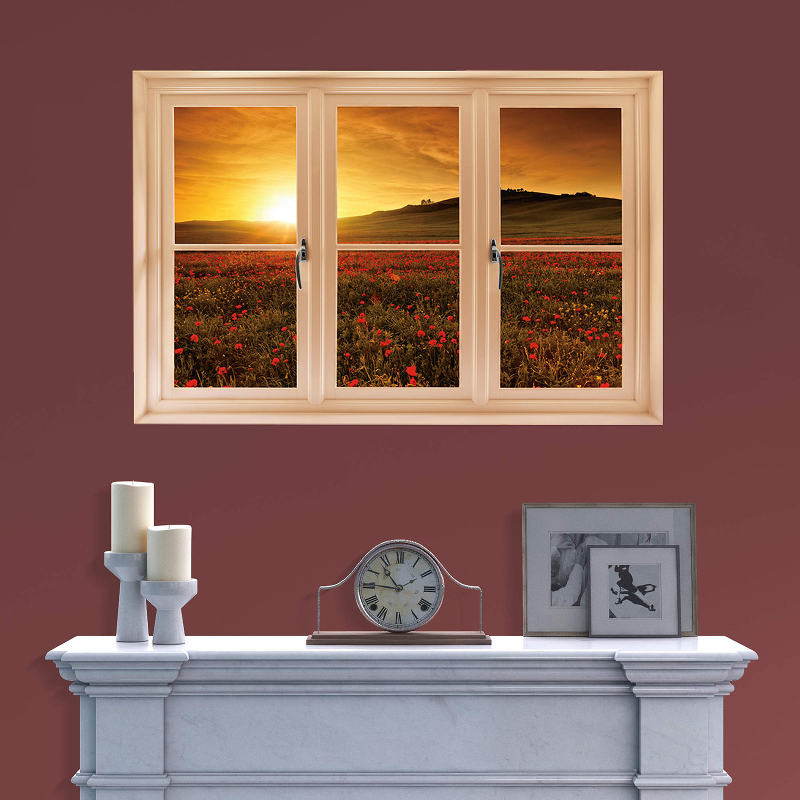 Tuscany panorama windows decals trompe 28 images - Sticker trompe l oeil mural ...