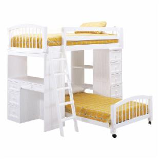 Woodland White Student Twin Loft Bed