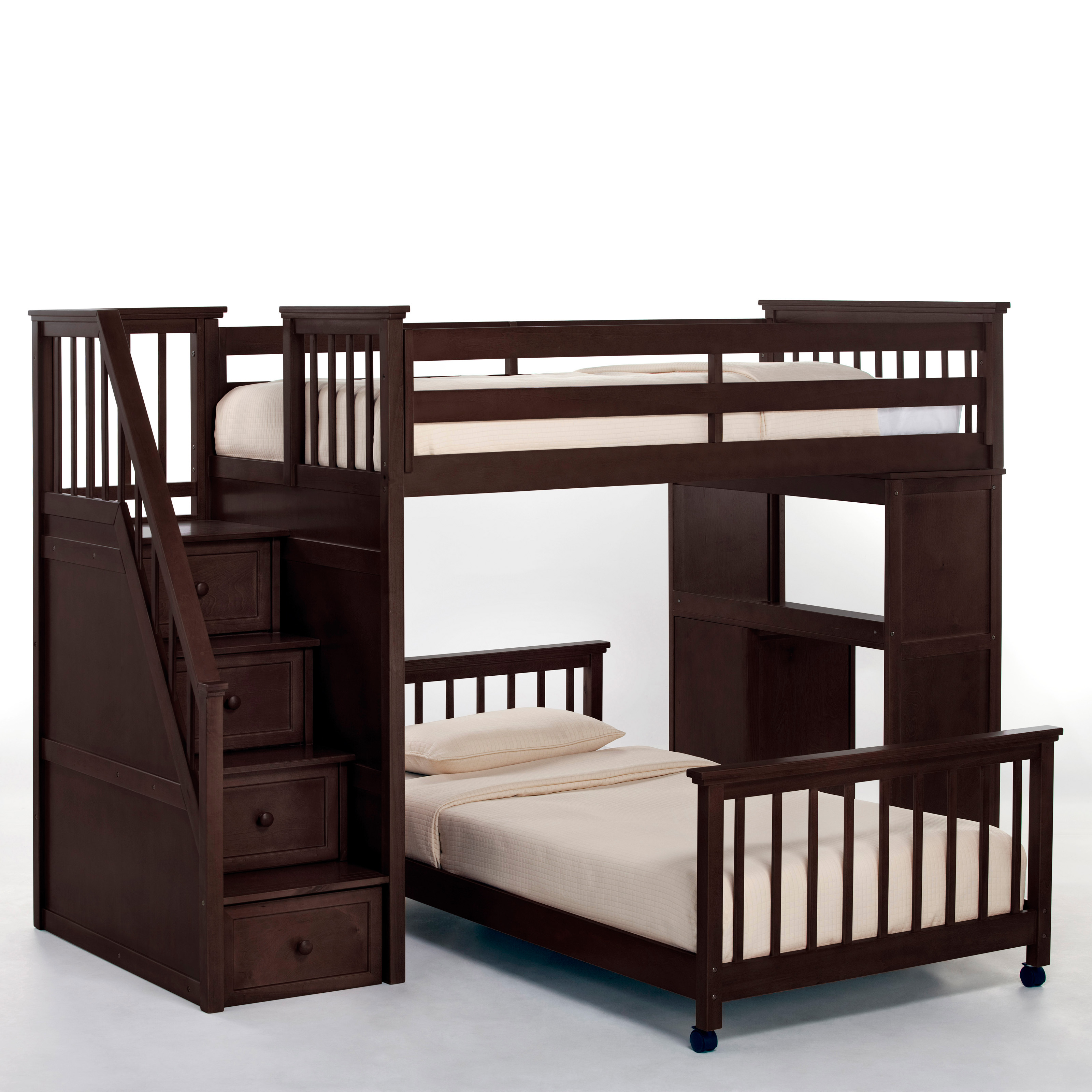 Schoolhouse stairway loft bed chocolate bunk beds for Loft bunk bed with desk
