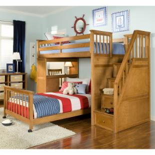 Schoolhouse Stairway Loft Bed - Pecan