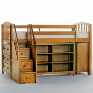 School House Storage Junior Loft with Stairs - Pecan