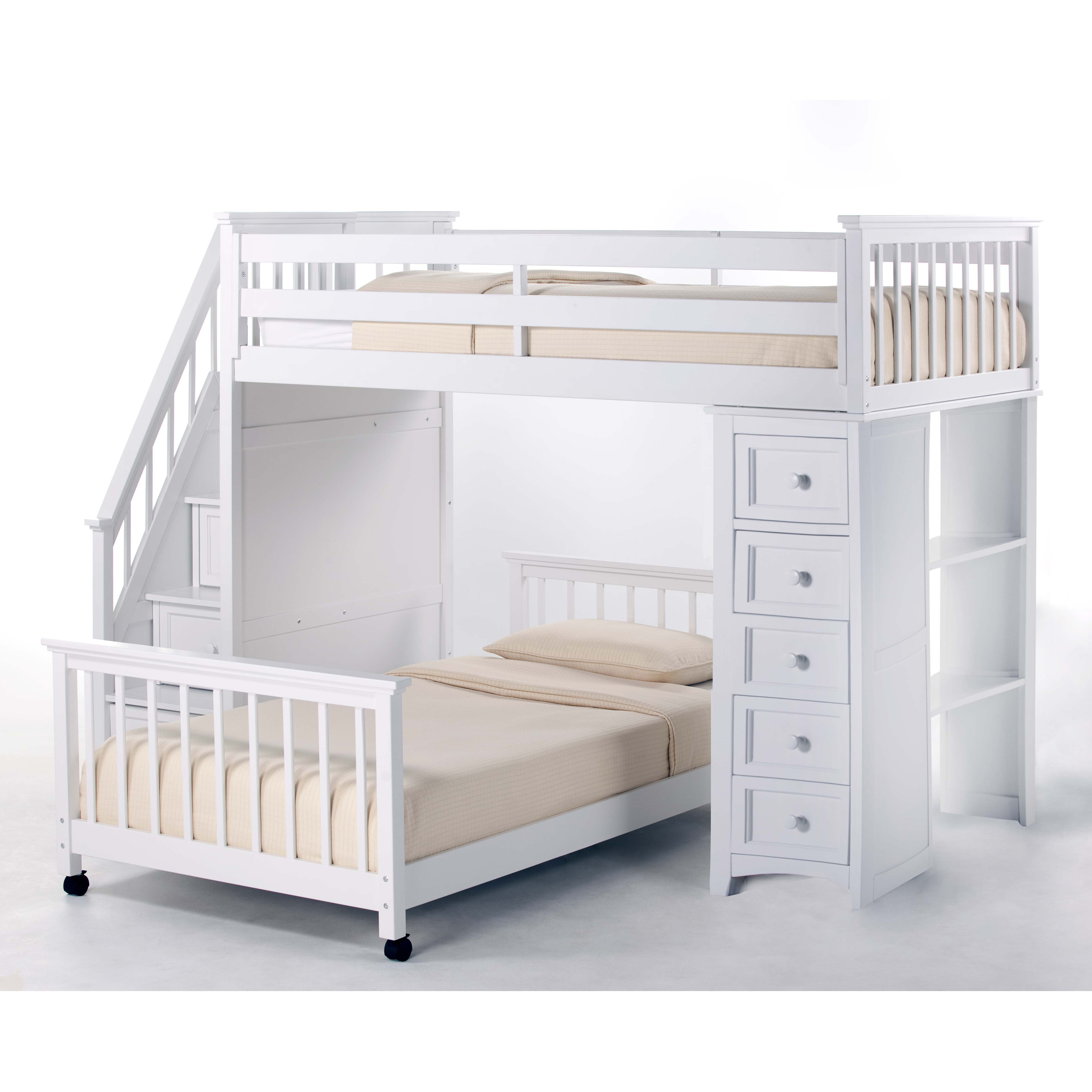 White Loft Bed with Stairs 3200 x 3200