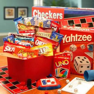 It's Game Time Boredom & Stress Relief Care Package at Gift Baskets :  holiday gift baskets gift sets games snacks fun specialty baskets