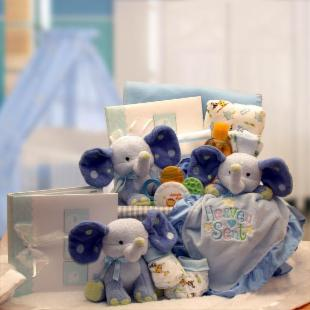A Baby is Heaven Sent Gift Basket - Blue