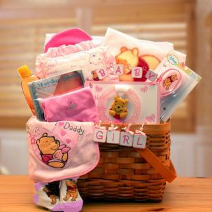 Winnie The Pooh New Baby Basket - Pink