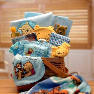 Winnie The Pooh New Baby Basket - Blue