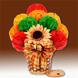 Fall Sunflowers Cookie Bouquet Basket