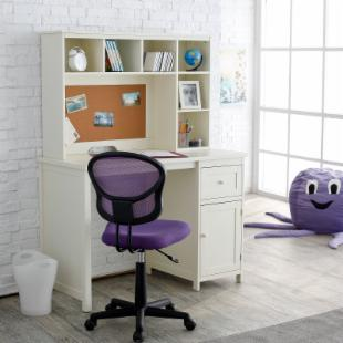 Piper Student Desk with Optional Hutch Set - Vanilla