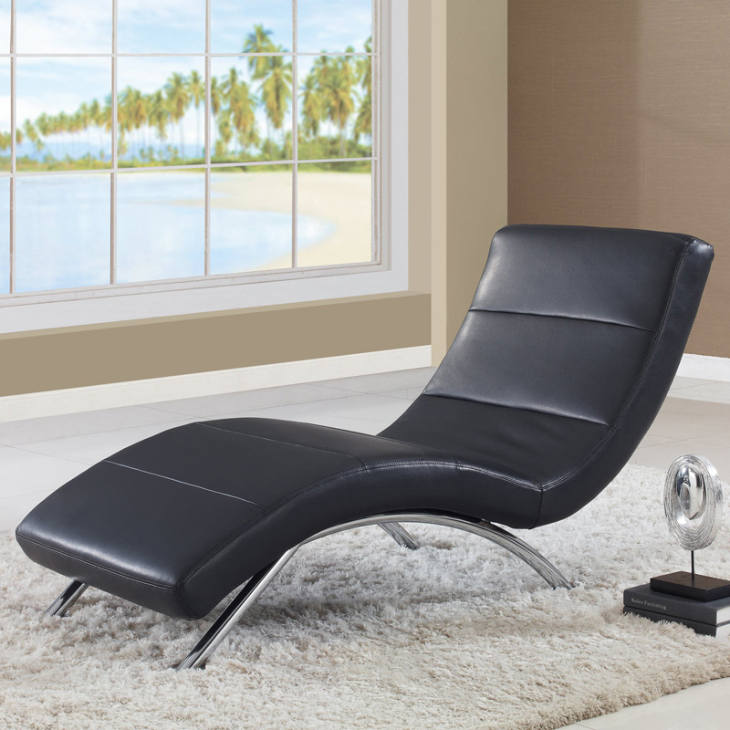 Global furniture r820 leather indoor chaise lounges for Black chaise lounge indoor
