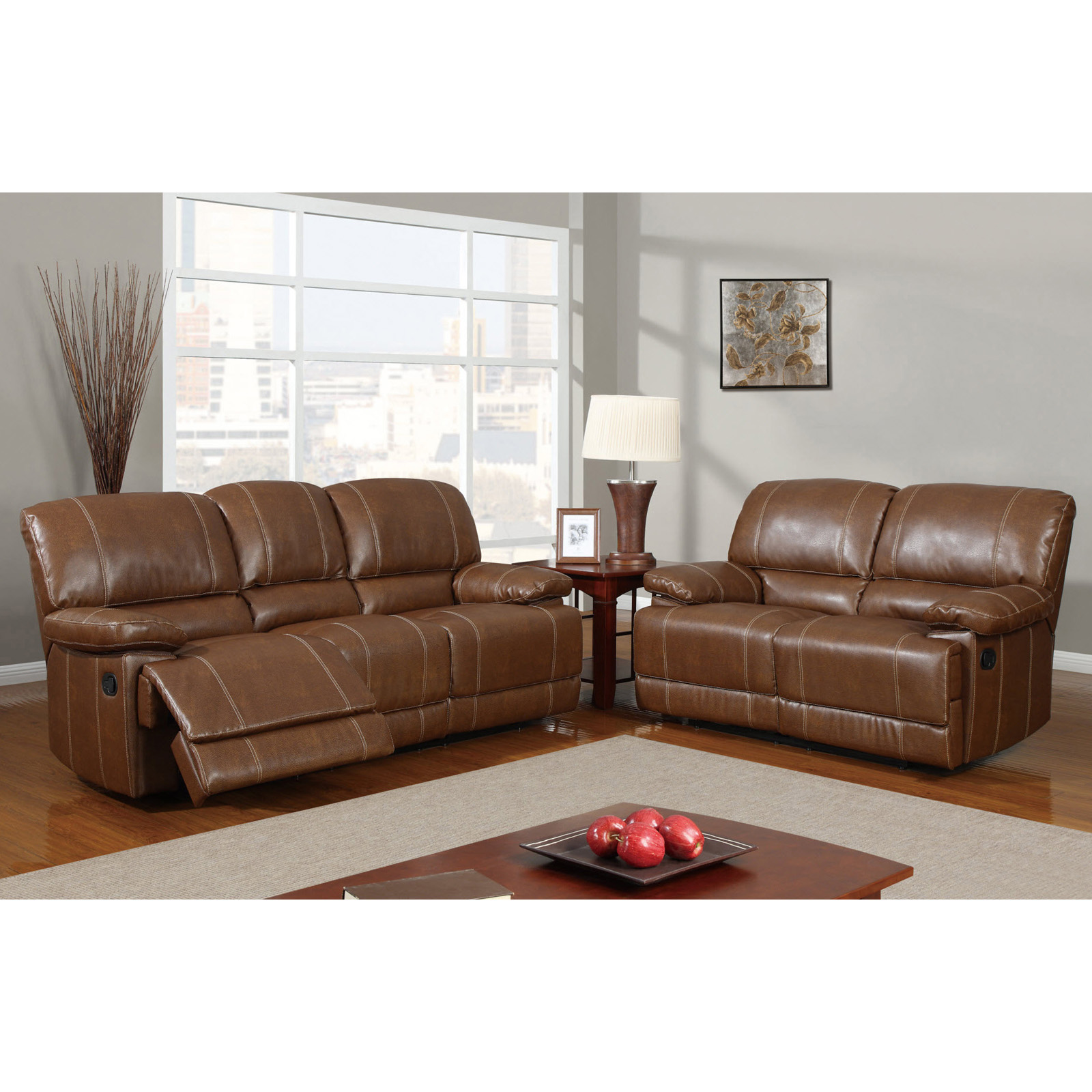 Global Furniture U9963 Leather Reclining Sofa And Loveseat Set Brown At Hayneedle