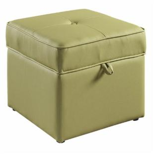 Tova Faux Leather Storage Ottoman - Green Tea