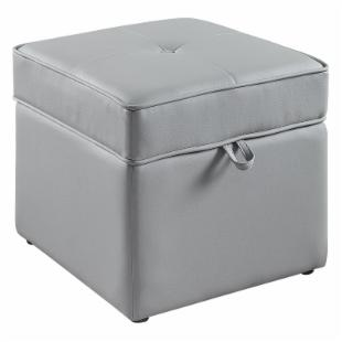 Tova Faux Leather Storage Ottoman - Vintage Gray