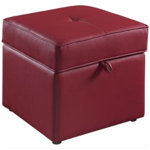 Tova Faux Leather Storage Ottoman - Crimson Red