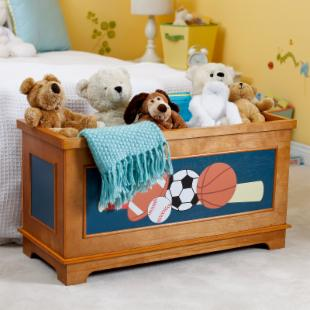Classic Playtime Varsity Sports Toy Box - Pecan