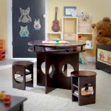  Classic Playtime Round Storage Table and Chair Set - Espresso