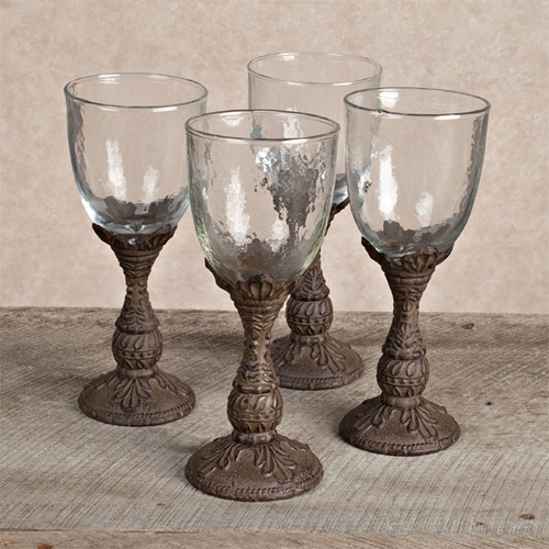 Metallic Wine Glasses : Gg collection wine glasses with metal bases set of at