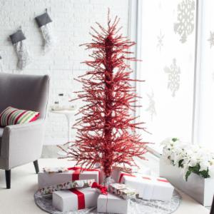 5ft. Pre-Lit Red Tinsel Twig Christmas Tree by Sterling Tree Company